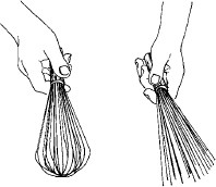 Figure 13-37 A metal whisk before and after removing the round end and spreading the wires apart slightly to use in making spun sugar