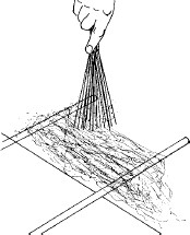 Figure 13-38 Making spun sugar by flicking the hot sugar syrup back and forth between 2 dowels extended over the edge of a table